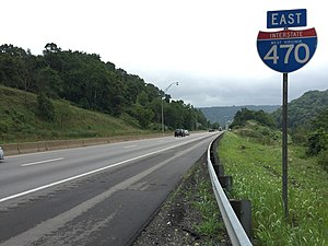 Interstate 470 (Ohio–West Virginia) - View east along I-470 in Bethlehem