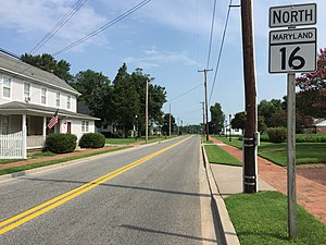 Maryland Route 16 - View north along MD 16 at MD 14 in East New Market