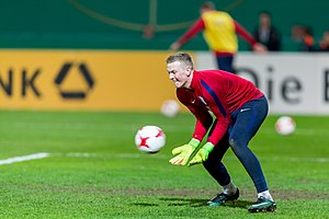 Jordan Pickford - Pickford warming up for England U21 in 2017