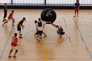 Kin-Ball Team sport in which 3 teams are in confrontation