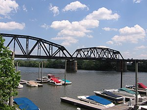 Herrs Island, Pittsburgh - The 33rd Street Railroad Bridge is a disused bridge that connects with the island.  The photo was taken from the island itself.