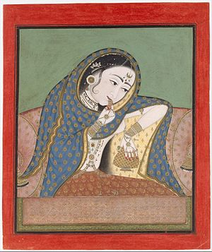 https://upload.wikimedia.org/wikipedia/commons/thumb/7/7f/3_Melancholy_Courtesan_Bundi_or_Kota_1610_Metmuseum.jpg/300px-3_Melancholy_Courtesan_Bundi_or_Kota_1610_Metmuseum.jpg