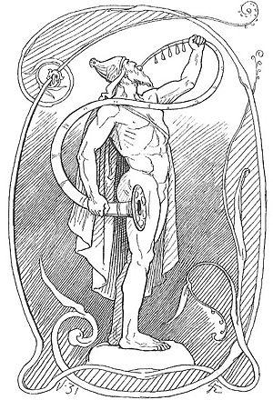 Gjallarhorn - Heimdallr blows into Gjallarhorn in an 1895 illustration by Lorenz Frølich