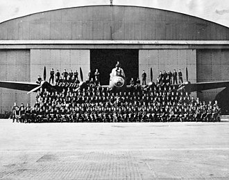 419 Tactical Fighter Training Squadron - Personnel of No. 419 (Moose) Squadron, RCAF, with an Avro Lancaster B.X aircraft, Middleton St. George, England, 1944