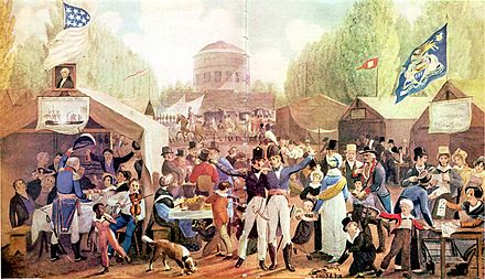 Independence Day celebrations in 1819. In the United States, the war was followed by the Era of Good Feelings, a period that saw nationalism, and a desire for national unity rise throughout the country. 4th-of-July-1819-Philadelphia-John-Lewis-Krimmel.JPG