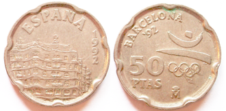 Sailing at the 1992 Summer Olympics - 1992, 50 pesetas coin