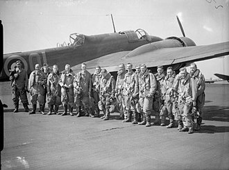 No. 83 Squadron RAF - Image: 83 Squadron aircrew and Hampden at RAF Scampton WWII IWM CH 266