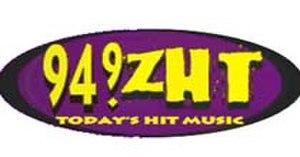 KENZ (FM) - Image: 94.9 ZHT Logo (circa 1999)