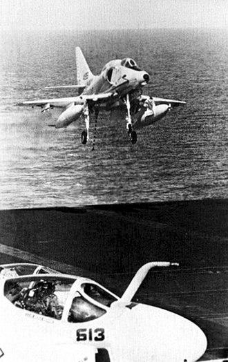 Operation Nickel Grass - Image: A 4E Skyhawk landing on USS FD Roosevelt (CVA 42) in October 1973