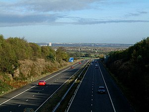 A194 road - Looking north with Tyneside coming into view