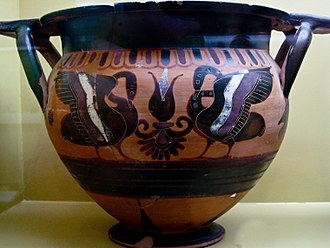 Krater - Manner of Lydos, Black-figured column crater depicting swans, ca. 550 BC, Museum of the Ancient Agora, Athens