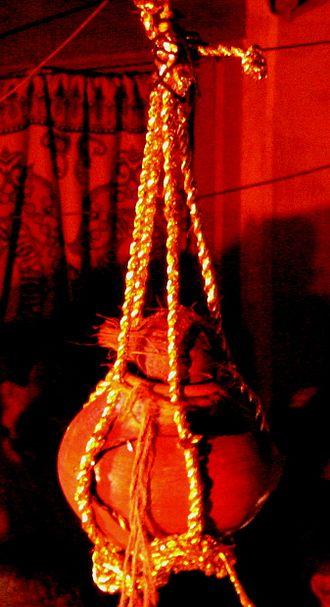 Dahi Handi - A Dahi Handi, tied up high for the Hindu festival of Janmashtmi Krishna.