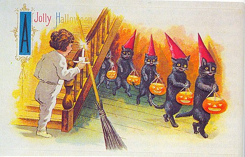 A Jolly Halloween card Black Cats