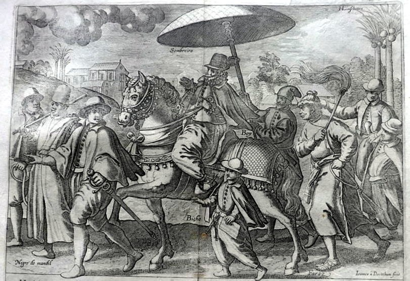 """A Portuguese nobleman riding on a horse from """"Itinerario, voyage, ofte Schipvaert van Jan Huygen van Linschoten naer Oost ofte Portugaels Indien,"""" Amsterdam, 1596"""