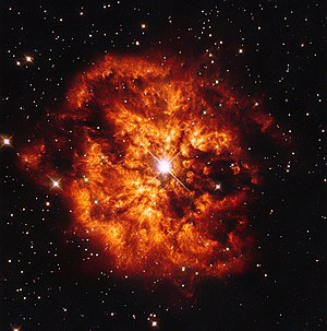 Wolf–Rayet star - Hubble Space Telescope image of nebula M1-67 around Wolf–Rayet star WR 124.