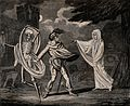 A man in armour is confronted by a ghost and a skeleton. Aqu Wellcome V0042200.jpg