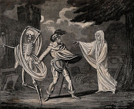 A man in armour is confronted by a ghost and a skeleton. Aqu Wellcome V0042200