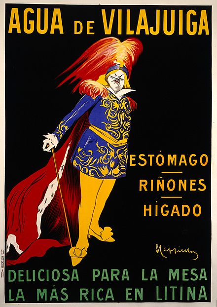 A man in Spanish costume advertising Vilajuïga mineral water. Colour lithograph by L. Cappiello, c. 1912.