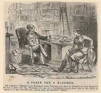 "Bloomers (clothing) - In a reversal of genders, a ""bloomer"" asks her fiancé's shocked father for consent to marry his son: satirical cartoon from 1852"