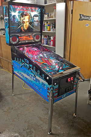 Terminator 2: Judgment Day (pinball) - A restored Terminator 2 custom pinball machine to better than factory condition e.g. by re-plating of all metal parts with chrome