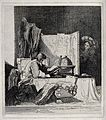 A scholar sits in his study reading by a globe, a woman peep Wellcome V0024856.jpg
