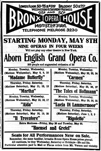 Bronx Opera House - Newspaper Ad for the Aborn Opera Company's program in the Spring of 1916