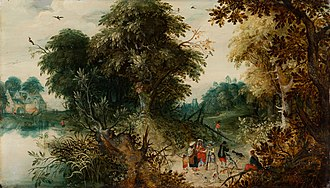 Abraham Govaerts - Wooded Landscape with Travellers