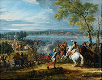 Rampjaar - Louis XIV of France crossing the Rhine by Adam Frans van der Meulen.