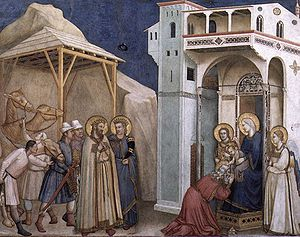 Twelve Days of Christmas - The Adoration of the Magi. Fresco in the Lower Church of the Basilica of San Francesco d'Assisi in Assisi, Italy