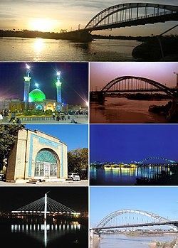 Clockwise from top: White Bridge, Twilight view of White Bridge over Karoon River, Ahvaz Bridge over Karun River at night, Pol Sefid, Pol Hashtom, Jundishapur Medical Center and Masjid Ali Mahziar
