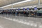 Air India check-in counters at VHHH T1 (20180903153128).jpg