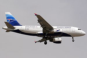 Atlantic Airways - Airbus A319 landing at Barcelona–El Prat Airport, Spain