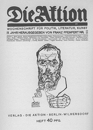 Franz Pfemfert - Front page of Die Aktion from October 1914 with a portrait of Charles Péguy by Egon Schiele