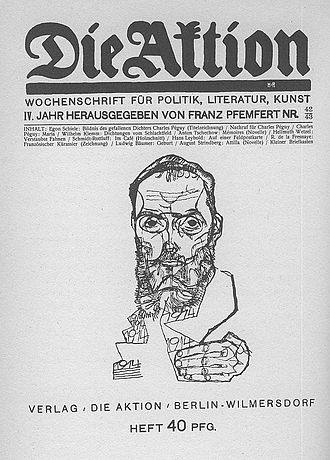 Die Aktion - Front page of Die Aktion from October 1914 with a portrait of Charles Péguy by Egon Schiele