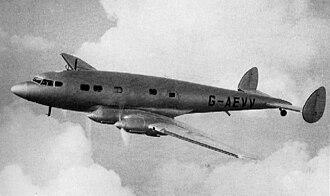 De Havilland Albatross - The prototype DH.91 Albatross, G-AEVV, over Hatfield, September 1938 (photo from Flight International)