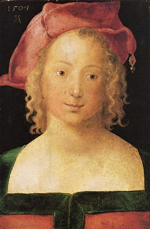 1500–1550 in Western European fashion - Albrecht Dürer's Young Woman of 1507 wears hat called a barett, popular in the German states.