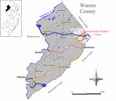 Map of Allamuchy-Panther Valley CDP in Warren County. Inset: Location of Warren County in New Jersey.