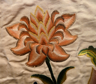 Satin stitch - Satin stitch in silk.  Detail of an altar frontal, France or Italy, 1730–40, Los Angeles County Museum of Art, M.2009.76.