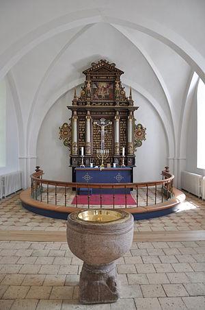 Church of Denmark - Communion table and baptismal font in Besser Church, Samsø