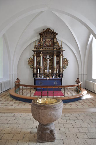 Church of Denmark - Communion table and baptismal font in Besser Church, Samsø