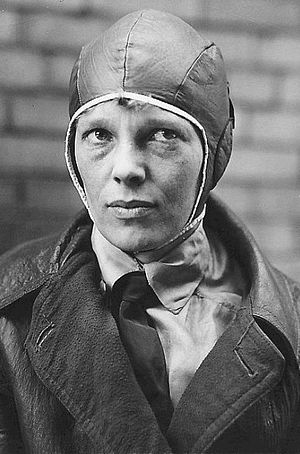 Helmet - Amelia Earhart wearing a helmet just before her transatlantic crossing of 1928