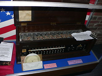 Type B Cipher Machine - An equivalent analog to the Purple machine reconstructed by the US Signals Intelligence Service. A hand-operated Red analog is also visible