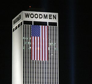 WoodmenLife Tower - Image: American flag on Woodmen Tower