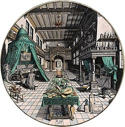 Alchemist's laboratory, by Hans Vredeman de Vries, 1595
