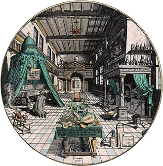 """Heinrich Khunrath - """"The First Stage of the Great Work,"""" better-known as the """"Alchemist's Laboratory."""" The drawing of the laboratory is credited to architectural painter Hans Vredeman de Vries (1527–1604) and shows Khunrath in his laboratory."""