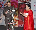 "Anand Sharma lighting the lamp to inaugurate the World Crafts Summit ""KAIVALAM"", in Chennai on October 07, 2012. The President World Crafts Council, Smt. Usha Krishna is also seen.jpg"
