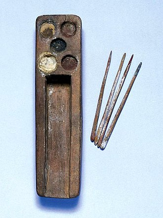 Scribe - Ancient Egyptian scribe's palette with five depressions for pigments and four styli