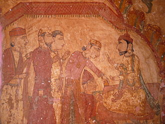 Payal, India - Ancient Wall Painting on Shiva Temple