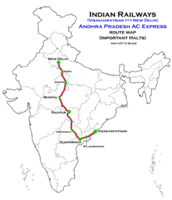 Andhra Pradesh AC Express (Visakhapatnam - New Delhi) Route map
