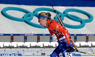 Biathlon at the 2002 Winter Olympics - Andrea Nahrgang competing at Soldier Hollow at the 2002 Winter Olympics.
